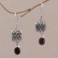 Garnet dangle earrings, 'Red Horizon'