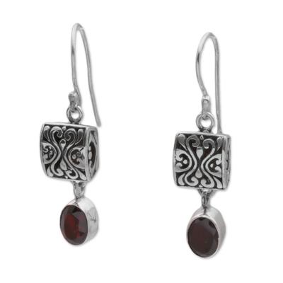Garnet dangle earrings, 'Red Horizon' - Sterling Silver and Garnet Dangle Earrings from Bali