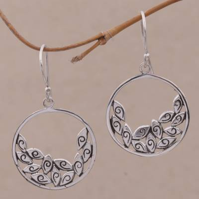 Sterling silver dangle earrings, 'Spectator' - Handmade Sterling Silver Dangle Earrings from Indonesia