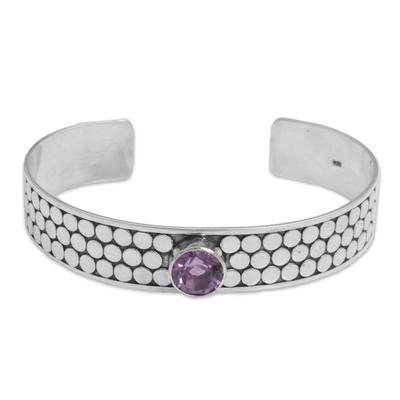 Fair Trade Purple Sterling Silver Amethyst Dot Motif Cuff Bracelet