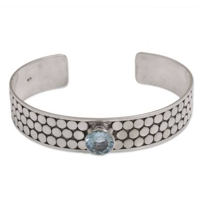 Balinese Blue Topaz and Sterling Silver Spiral Cuff Bracelet