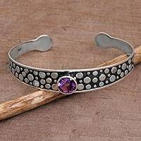 Amethyst cuff bracelet, 'Purple Stone Path' - Amethyst and Sterling Silver Cuff Bracelet from Bali