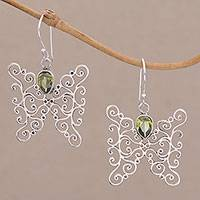 Peridot dangle earrings, 'Butterfly Swirls in Green' - Peridot and Sterling Silver Butterfly Earrings from Bali