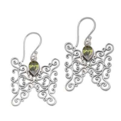 Peridot and Sterling Silver Butterfly Earrings from Bali