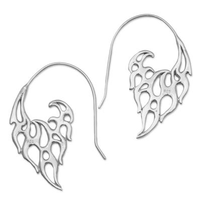 Sterling silver drop earrings, 'Dancing Flames' - Indonesian Handmade Sterling Silver Flame Drop Earrings