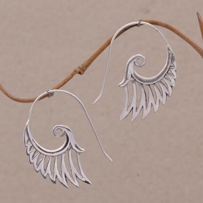 Indonesian Handmade Sterling Silver Wing Drop Earrings Winged Beauty