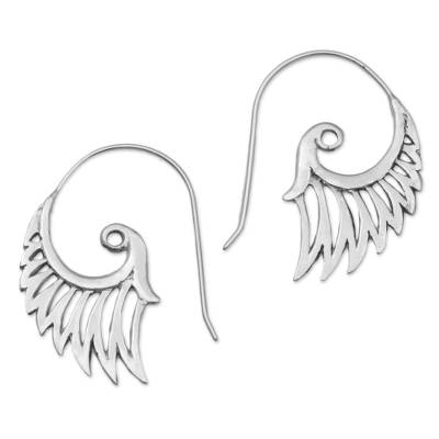 Sterling silver drop earrings, 'Winged Beauty' - Indonesian Handmade Sterling Silver Wing Drop Earrings