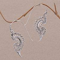 Sterling silver drop earrings, 'Tribal Allure' - Indonesian Handmade Sterling Silver Tribal Drop Earrings