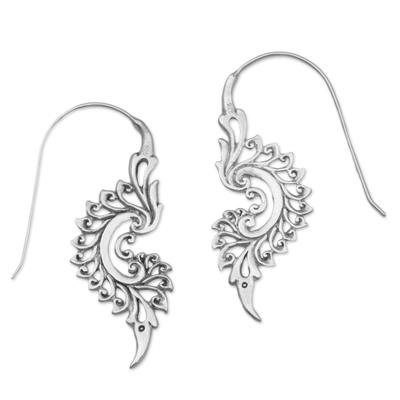 Sterling silver drop earrings, 'Tribal Allure' - Indonesian Handmade Sterling Silver Tribal Drop Earrings