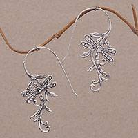 Sterling silver drop earrings, 'Dragonfly Allure' - Indonesian Handmade Sterling Silver Dragonfly Drop Earrings