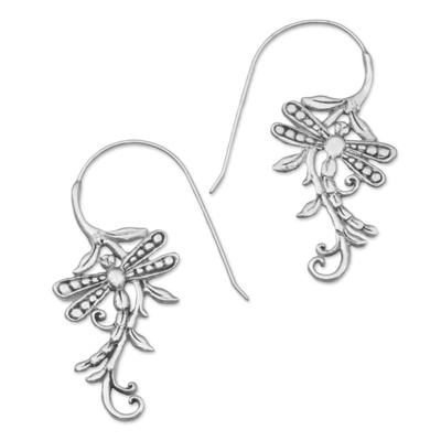 Sterling silver drop earrings, 'Dragonfly Allure' - Indonesian Handmade Sterling Silver Dragonfly Drop Earrings
