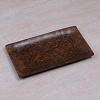 Wood serving tray, 'Speckled Dark' - Dark Brown Coconut Wood Rectangular Serving Tray from Bali