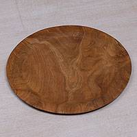 Teakwood serving plate, 'Forest Vibes' - Hand Crafted Round Teakwood Serving Plate from Bali