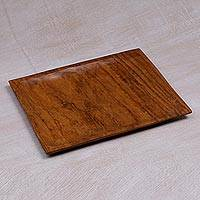 Teakwood serving plate, 'Forest Happiness' - Handcrafted Teakwood Serving Plate from Bali