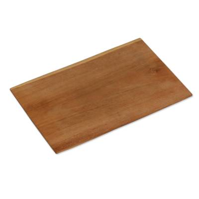 Artisan Handcrafted Brown Teak Wood Tray from Bali