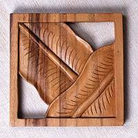 Wood relief panel, 'Banana Canopy' - Hand Crafted Leaf Motif Wood Relief Panel from Bali