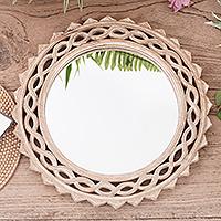 Wood wall mirror, 'Eternal Shine'