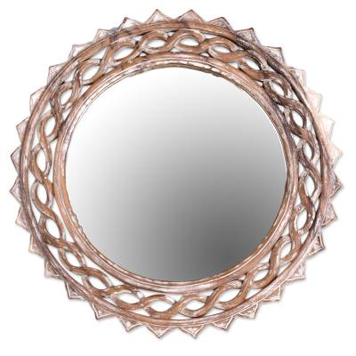 Wood wall mirror, 'Eternal Shine' - Handcrafted Suar Wood Circular Wall Mirror from Bali