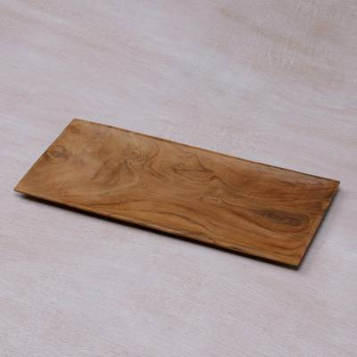Teak wood tray, 'Chef's Joy' - Naturally Finished Teak Wood Serving Tray from Bali