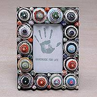 Recycled paper photo frame, 'Shrine City' (3x5) - 3x5 Recycled Paper Photo Frame with Multicolored Circles