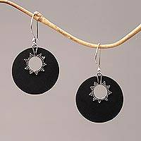 Sterling silver dangle earrings, 'Stellar Night' - Sterling Silver and Lava Stone Circular Earrings from Bali