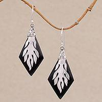 Wood and sterling silver dangle earrings, 'Diamond Flame' - Sterling Silver and Sono Wood Diamond Shaped Earrings