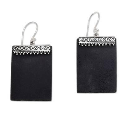 Sterling Silver and Lava Stone Rectangular Earrings