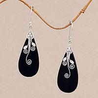 Lava stone dangle earrings, 'Reaching Vines' - Sterling Silver and Lava Stone Drop Shaped Earrings