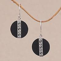 Lava stone dangle earrings, 'Gerhana Majesty' - Sterling Silver and Lava Stone Spiral Motif Dangle Earrings