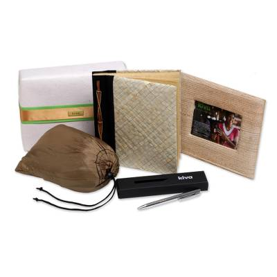 Handcrafted hammock, journal, pen and photo frame, 'Kiva adventurer gift set' (4 pieces) - Bali artisan handcrafted gift set for the adventurous spirit