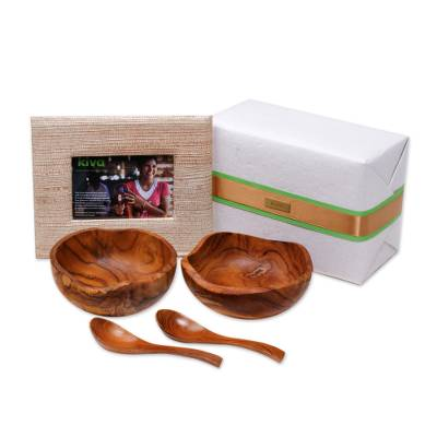 Handcrafted photo frame, bowls and spoons, 'Kiva host gift set' (5 pieces) - Bali artisan handcrafted gift set for the perfect host