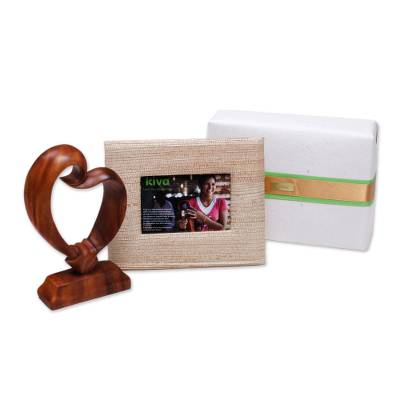 Handcrafted photo frame and wood sculpture, 'Kiva heartfelt gift set'  - Artisan handcrafted heart sculpture gift set from Bali