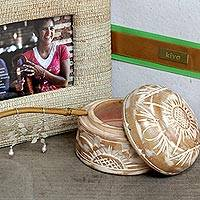 Photo frame, mahogany jewelry box and cultured pearl earrings, 'Kiva Leaves of Change' (3 piece set) - Bali artisan handcrafted earrings and jewelry set gift set
