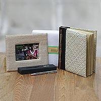 Handcrafted journal, pen and photo frame, 'Kiva thinker gift set' (3 pieces) - Bali artisan handcrafted journal gift set for the writer