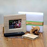 Handcrafted puzzle, pen, journal and photo frame, 'Kiva challenge gift set' (4 pieces)