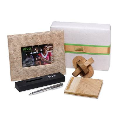 Handcrafted puzzle, pen, journal and photo frame, 'Kiva challenge gift set' (4 pieces) - Bali artisan handcrafted four-piece gift set