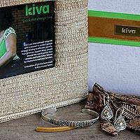 Photo frame, gold accented sterling silver bracelet and earrings, 'Kiva Bali Treasures Gift Set'