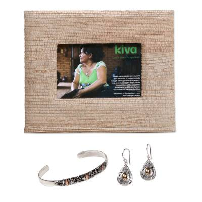 Photo frame, gold accented sterling silver bracelet and earrings, 'Kiva Bali Treasures Gift Set' - Handmade photo frame with bracelet and earrings
