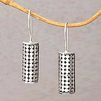 Sterling silver drop earrings, 'Dotted Pillars' - Sterling Silver Circle Motif Drop Earrings from Bali