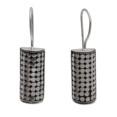 Sterling silver drop earrings, 'Dotted Pillars' - Sterling Silver Circle Motif Drop Earrings from Bali