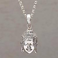Sterling silver pendant necklace, 'Buddha Shine' - Sterling Silver Buddha Pendant Necklace from Bali