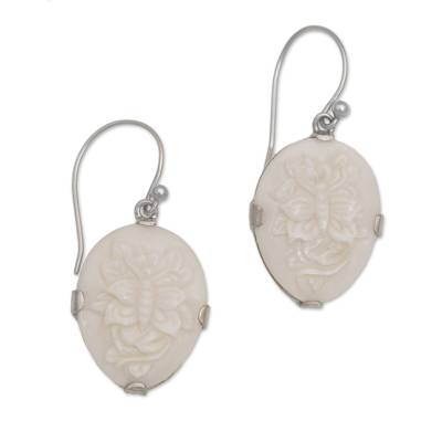 Bone dangle earrings, 'Twin Butterflies' - Sterling Silver and Bone Butterfly Earrings from Bali