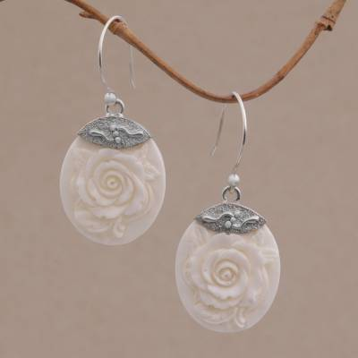 Novica Sterling silver dangle earrings, Tiny Roses