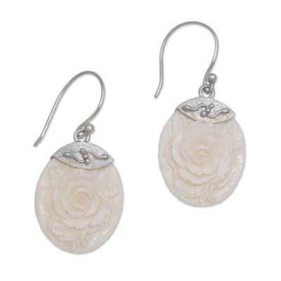 Sterling silver dangle earrings, 'Twin Roses' - Sterling Silver and Bone Floral Dangle Earrings from Bali