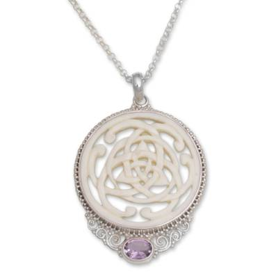 Amethyst pendant necklace, 'Circle of Power' - Amethyst Sterling Silver and Bone Pendant Necklace from Bali