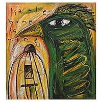 'Little Home is Mine' - Signed Modern Painting of a Green Bird from Bali
