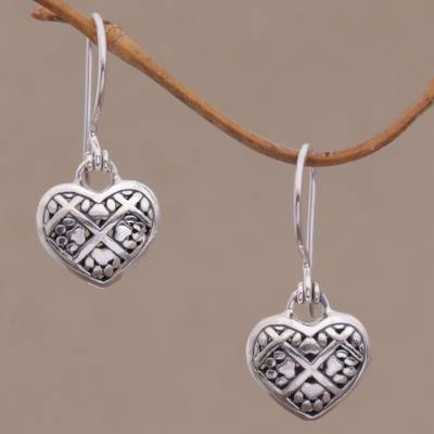 Sterling silver dangle earrings, Puppy Hearts