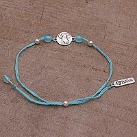 Chalcedony pendant bracelet, 'Angel Puppy' - Chalcedony and Sterling Silver Pendant Bracelet from Bali