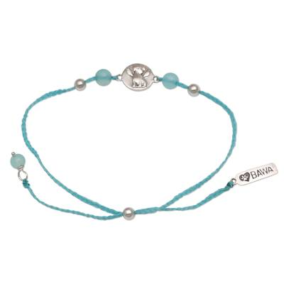 Chalcedony and Sterling Silver Pendant Bracelet from Bali