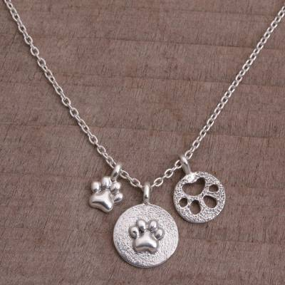 Sterling silver pendant necklace, 'Paw Trio' - Sterling Silver Paw Print Pendant Necklace from Bali
